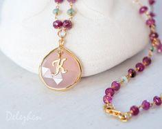Ethiopian Opal Necklace  Pink Tourmaline Necklace  by delezhen, $78.00