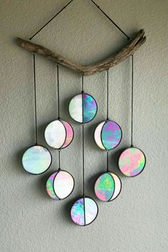 Purple Iridescent Moon Phase Hanging // Celestial Art // Moon Phase Wall Decor // Stained Glass Moon Phase // Phases of the Moon // Lunar Cy - house decoration ideas Handmade Home Decor, Diy Home Decor, Diy And Crafts, Arts And Crafts, Recycled Cd Crafts, Recycled Denim, Fall Crafts, Deco Rose, Ideias Diy