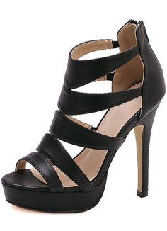 Black High Heel Platform PU Sandals -SheIn(Sheinside)