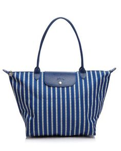 Longchamp Le Pliage Tatami Large Shoulder Tote Blue White Stripe Handbag Bag In Crisp And Lightweight Nylon S Iconic Makes The