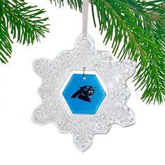 Carolina Panthers Glass Snowflake Ornament