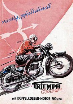 Triumph Cornet 200 Bike Poster, Motorcycle Posters, Motorcycle Types, Motorcycle Art, Car Posters, Bike Art, Motorcycle Quotes, Vintage Bikes, Vintage Motorcycles