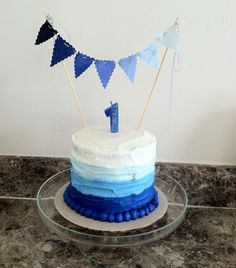 Instagram @stephreeder1 - The Coen & Beau Show- 1st birthday Smash Cake-blue ombré