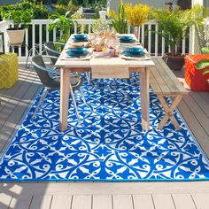 Fab Hab San Juan Outdoor Rug In Dark Blue Easily Transform Your Outside E With A Durable Eco Friendly Made From Recycled Plastic Straws