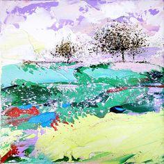 Original abstract painting 10 Summer landscape Tree Art