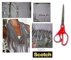 Ya sabes todo lo que puedes hacer con los productos Scotch y te seguimos dando mas ideas para estar siempre a la moda. Esta vez te enseñamos en tres pasos como hacer bufanda moderna.    Necesitas:    1. Una blusa que ya no uses.  2. Tijeras Multiusos Scotch que corta tela fácilmente.