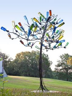 Wine Bottle Tree with roots.. love it