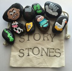 Jack and the Beanstalk Story Stones by TheWhimsyWayShop on Etsy Nursery Rhymes Preschool, Nursery Rhyme Theme, Classroom Crafts, Preschool Crafts, Crafts For Kids, Fairy Tale Activities, Pre K Activities, Castles Ks1, Fairy Tale Crafts