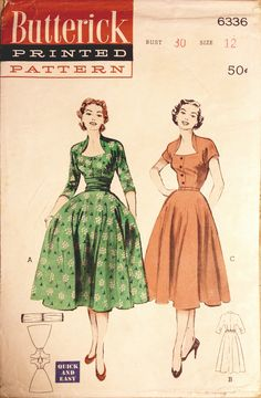 Butterick 6336 (1952) early 50s day dress cocktail full skirt green floral tan peach short sleeves circle hairstyle shoes party vintage fashion style color illustration print ad