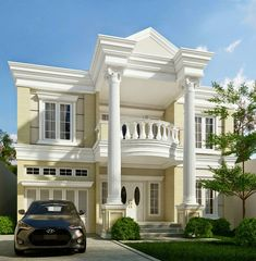 Modern Exterior Design Ideas Will Enhance The Aesthetic Values Of Your House Classic House Exterior, Classic House Design, Dream House Exterior, Modern Exterior, Exterior Design, Villa Plan, Bungalow House Design, House Front Design, Fachada Colonial