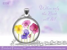 5708 Flowers Collection A  Glass Dome Pendant by PendantTreasury, $8.95