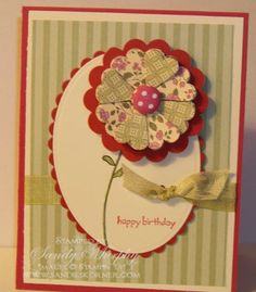Stampin Up Folded Scallop Flower Occasion Mini Filled With Love Promotion.see other pin for tute for flower Scrapbooking, Scrapbook Cards, Tarjetas Diy, Making Greeting Cards, Handmade Birthday Cards, Card Making Inspiration, Card Maker, Card Tags, Flower Cards