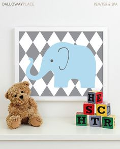 Childrens Art for Kids Wall Art, Jungle Baby Nursery Decor, Safari Animal Nursery Art, Elephant Nursery Wall Art - One 11x14