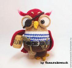 Crochet toy Owl Pirate   Купить Сова Корсаретта - сова, пират, пистолет, птица, птичка, корсар, ключ, бочонок, ром