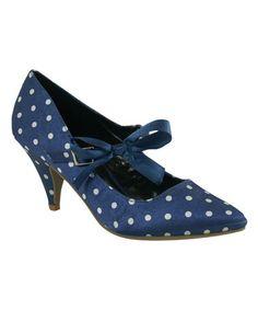 Another great find on #zulily! Blue & White Polka Dot Vicky Pump #zulilyfinds