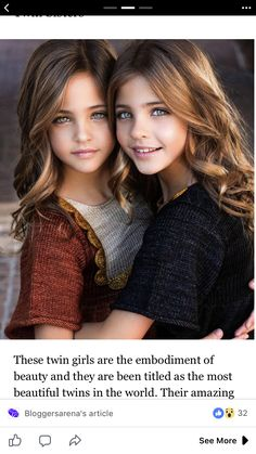 The beautiful twin Clement sisters. Beautiful Little Girls, Cute Little Girls, Beautiful Children, Beautiful Babies, Pretty Eyes, Beautiful Eyes, Beautiful People, Cute Young Girl, Cute Baby Girl