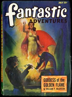 H.W. McCAULEY- art for Goddess of the Golden Flame by William P. McGivern - July 1947 Fantastic Adventures