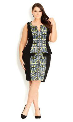 City Chic - ZIP FRONT MIRROR DRESS - Women's plus size fashion