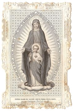 Our Lady of the Sacred Heart Virgin Mary & Child by 12StarsVintage