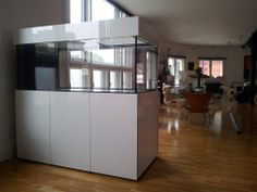 High Gloss White 5ft Walk Round Marine Aquarium, Steel Framed Cabinet with sump.