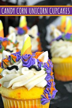 These Candy Cane Unicorn Cupcakes made with cake mix and homemade vanilla frosting are adorable, colorful, and will look terrific on your Halloween dessert table! #HalloweenCupcakes #ThePurplePumpkinBlog #CupcakeRecipes Halloween Dessert Table, Halloween Desserts, Halloween Cupcakes, Homemade Vanilla Frosting, Cupcake Recipes From Scratch, Purple Food Coloring, Yellow Cupcakes, Orange Frosting, Purple Pumpkin