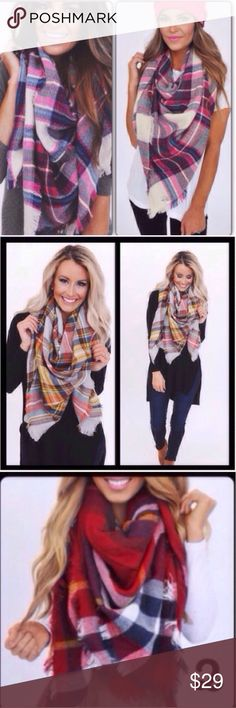 "❣️3 COLORS❣️ Pink Red Mustard Plaid Blanket Scarf My bestsellers of last year is now back in action! So comfy and soft and perfect for the upcoming chilly seasons! Available in mustard and pink/green and red 58x58"". $25 each when I bundle both colors. 100% acrylic. Accessories Scarves & Wraps"