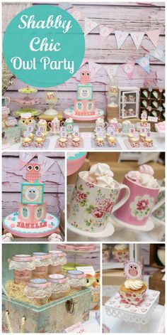 This shabby chic 1st birthday party features owls, florals and pastels! See more party ideas at CatchMyParty.com!