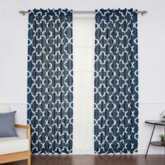 Decorinnovation Moroccan Linen Blend Back Tab/Rod Pocket Window Curtain Panel Pair - www.BedBathandBeyond.com
