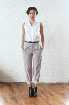 cotton with pink and grey pinstripes. Corporate Chic, Pinstripe Pants, Work Attire, Pink Grey, Work Wear, Normcore, Style Inspiration, Stylish, My Style