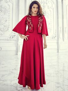 Aashi Red Two Tone Gown Style Embroidered Kurti with Stitched Koti - Stylish Dresses, Casual Dresses, Fashion Dresses, Hijab Fashion, Designer Gowns, Indian Designer Wear, Designer Kurtis, Silk Kurti Designs, Gown With Jacket