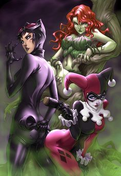 Harley Quinn and Poison Ivy | Harley Quinn, Catwoman, Poison Ivy.