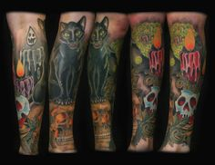Leg sleeve by Alonzo Villa- Bearcat Tattoo Gallery- Little Italy- San Diego, CA