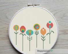 cross stitch pattern flowers, little retro flowers, PDF pattern ** instant download**