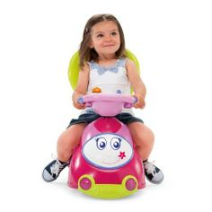 Chicco 4-in-1 Ride-On Car, Pink by Chicco. $79.99. From the Manufacturer                A sit 'n ride car that offers 4 play modes to follow baby's growth. 1) Rocker - suitable for small children thanks to its stable rocking base and safety bar. 2) Push and Go - With removable footrest and practical parent handle. 3) Push and Walk - Featuring a handy support for baby's first steps. 4) Sit 'n Ride - Foot powered car with an activity center that can be used in each conf...