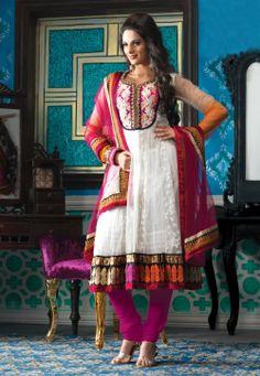 White Net Anarkali Churidar Kameez @ $110.80