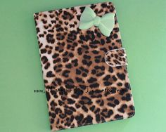 Leopard iPad case with mint green bow,pink bow for choice,bowknot iPad Cover, Leopard Mini Ipad Case, Leather ipad case, Leather ipad cover on Etsy, $27.96 CAD