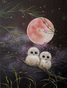 Owls in the moonlight Fantasy Kunst, Fantasy Art, Owl Graphic, Owl Artwork, Owl Wallpaper, Owl Pictures, Beautiful Owl, Cute Owl, Moon Art