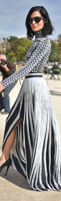Misshapes' Leigh Lezark Street Style | Black and White Maxi | Pattern on pattern