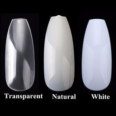 100pcs/box New Ballerina Nail Tips Full Nails Coffin Shape Artificial French Fake Nail Tip Salon Decorated Transparent Fake Nail