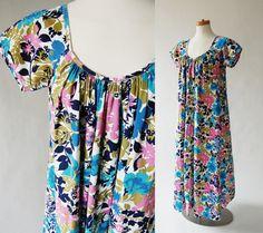 Cotton Maxi Dress / long Tent Dress / Blue by shopgoodgrace, $48.00