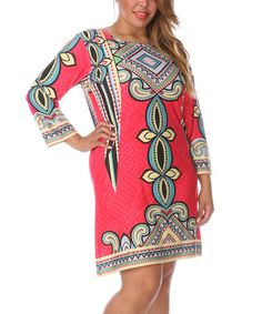 Loving this Pink & Blue Abstract Shift Dress - Plus on #zulily! #zulilyfinds
