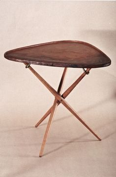 tripod table, wood, brass and leather, Vienna (Austria), 1949 Furniture Fix, Cabinet Furniture, Furniture Styles, Furniture Makeover, Modern Furniture, Furniture Design, Mid Century Decor, Mid Century Furniture, Bauhaus Design