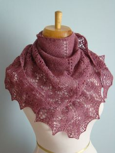 Ishbel, a fun shawlette!  Top down, with a vine stitch variation at the center and lower border. One large skein of sock yarn makes a shoulderette! --Eve Starr Fiber Arts