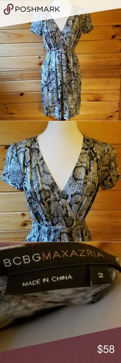 BCBGMaxAzria Gray Silk Python Print Dress Gorgeous, fully lined silk dress in excellent condition. It has pockets! All dresses should have pockets! Would be a beautiful choice for any event. BCBGMaxAzria Dresses