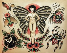 Items similar to Insect and Bugs Traditional Tattoo Designs on Etsy Bug Tattoo, Raven Tattoo, Cholo Tattoo, Deer Tattoo, Flash Tradicional, Old School Tattoo Designs, Traditional Tattoo Design, Traditional Tattoo Flash, Tatuagem Old School