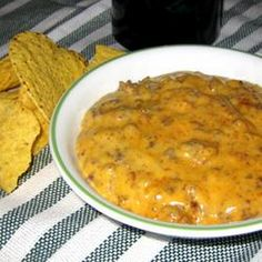 Dog Food Dip Recipe with lean ground beef, onion, condensed cream of mushroom soup, processed cheese, jalapeno chilies