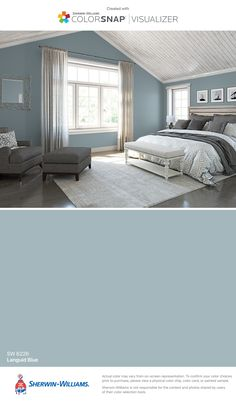 Produce the cosiest cocoon in your sleeping area with these colour suggestions and tricks for . bedroom paint colors I found this color with ColorSnap® Visualizer for iPhone by Sherwin-Williams: Breezy (SW Bedroom Paint Colors, Paint Colors For Home, House Colors, Master Bedroom Color Ideas, Master Bedrooms, Blue Bedroom Ideas For Couples, Paint Colours, Blue Bedrooms, Master Bathroom