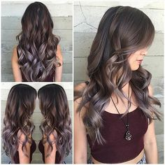 Long wavy hair Brunette hair with smoky highlights by Jacqui of Butterfly Loft…
