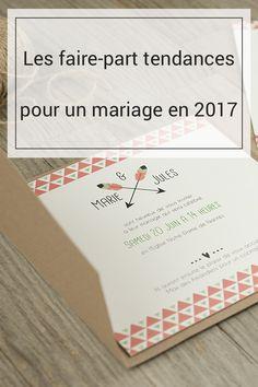 Les faire-part tendances pour un mariage en 2017. Vous savez peut-être quelle style de robe ou de déco vous voulez pour votre mariage mais avez-vous déjà décidé de vos faire-part? Découvrez les dernières tendances.. du peps, du nature, du romantisme...