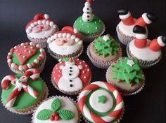 Cupcakes de Navidad con fondant